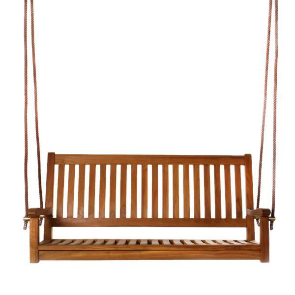 All Things Cedar Teak Porch Swing with Cushion Porch Swings No Cushion