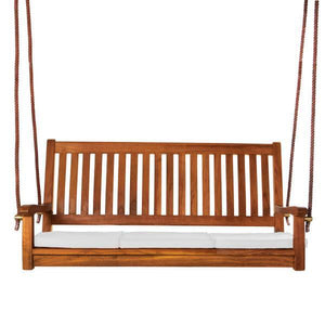 All Things Cedar Teak Porch Swing with Cushion Porch Swings White