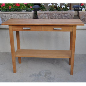 Anderson Teak Atlanta Rectangular Serving Table With 2 Drawers And 1 Shelf Outdoor Tables
