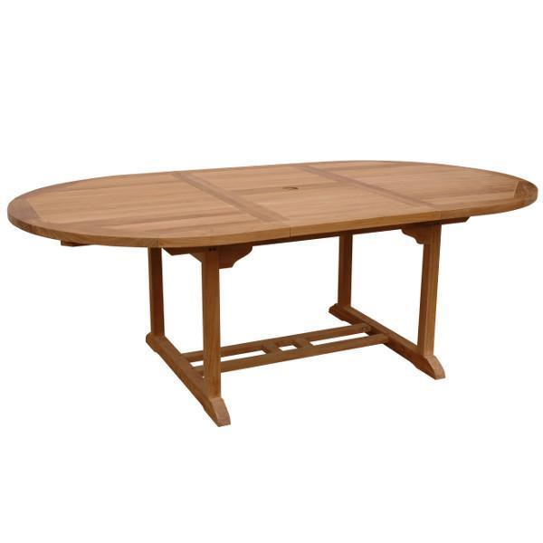 "Anderson Teak Bahama 87"" Oval Extension Table Extra Thick Wood Outdoor Tables"
