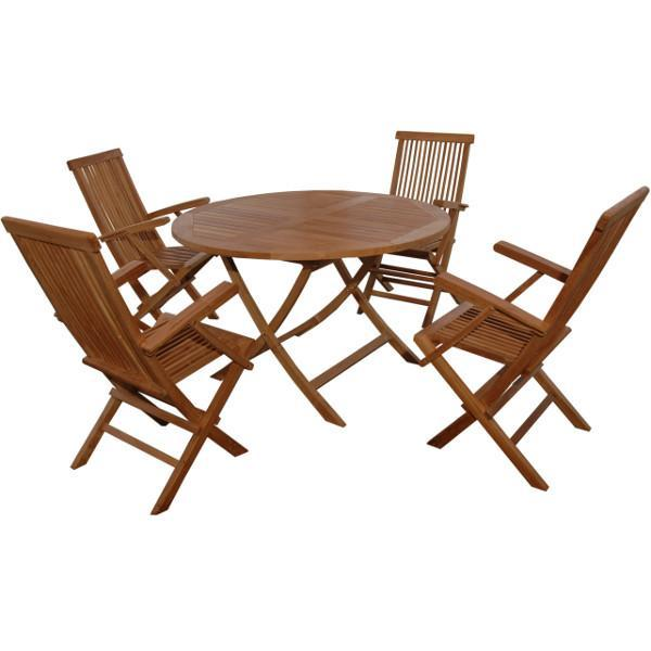 Anderson Teak Bahama Classic Folding Armchair 5-Pieces Dining Set Dining Set