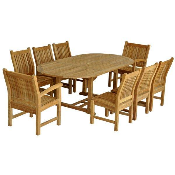 "Anderson Teak Bahama Sahara Side Chair 7-Pieces 87"" Oval Dining Set Dining Set"
