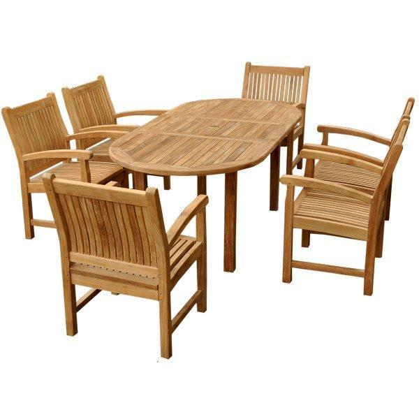 "Anderson Teak Bahama Stackable Sahara 9-Pieces 78"" Oval Dining Set Dining Set"