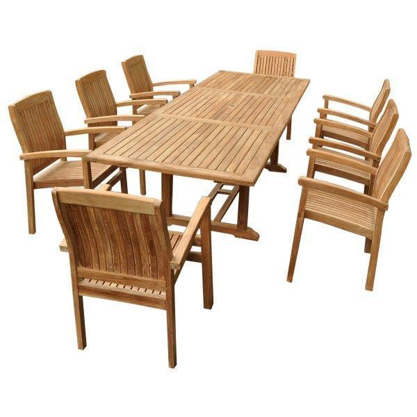 Anderson Teak Bahama Stackable Sahara 9-Pieces Rectangular Dining Set A Dining Set