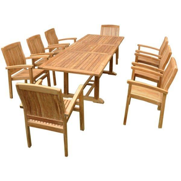 Anderson Teak Bahama Stackable Sahara 9-Pieces Rectangular Dining Set B Dining Set