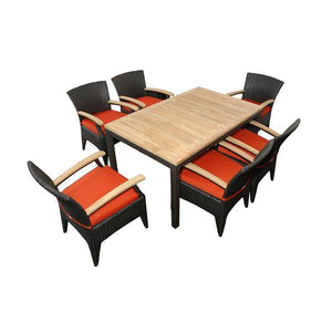 Anderson Teak Bellagio 7-Pieces Dining Set Dining Set Terracotta
