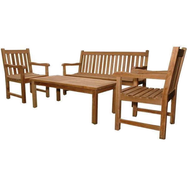 Anderson Teak Classic 3-Seater 4-Pieces Conversation Set Seating Set