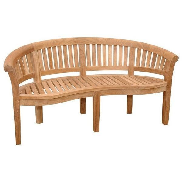 Anderson Teak Curve 3 Seater Bench Extra Thick Wood Bench