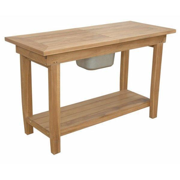 Anderson Teak Nautilus Console Table With Ss Container Console Table