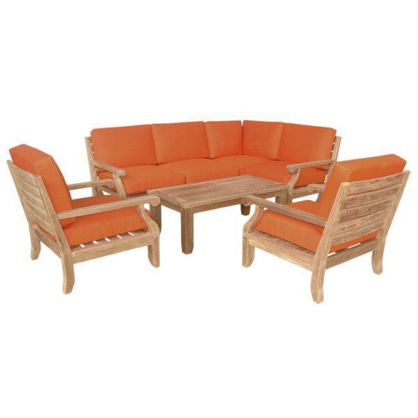 Anderson Teak Riviera Luxe 7-Pieces Modular Set with Rectangular Table A Seating Set