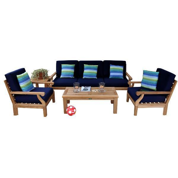 Anderson Teak Riviera Luxe 7-Pieces Modular Set With Rectangular Table B Seating Set