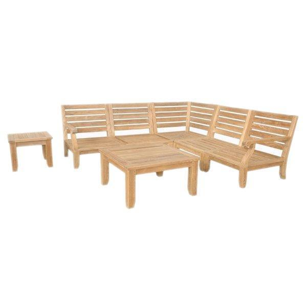 Anderson Teak Riviera Luxe 7-Pieces Modular Set With Square Tables Seating Set