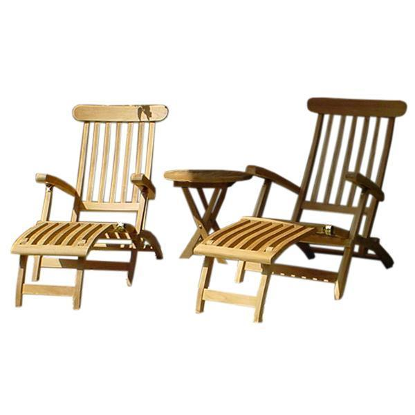 Anderson Teak Royal Steamer 3-Pieces Set with Side Table Seating Set