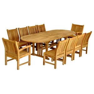 Anderson Teak Sahara Dining Side Chair 11-Pieces Oval Dining Set Dining Set