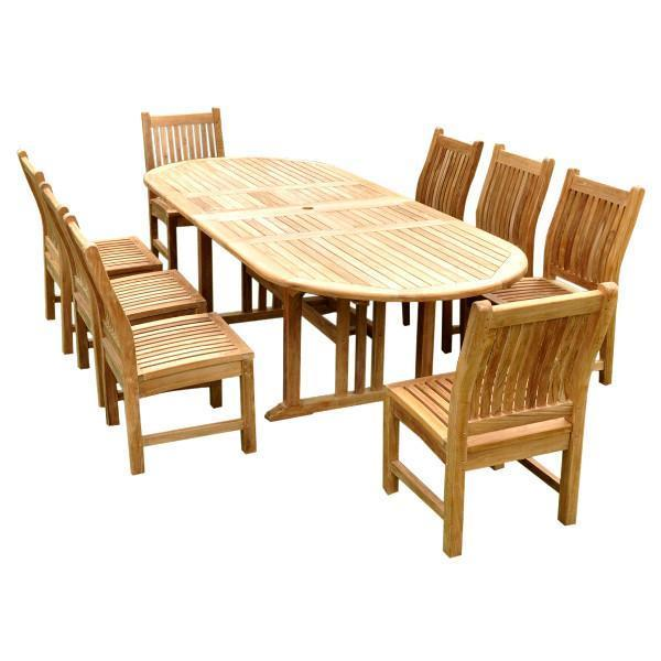 Anderson Teak Sahara Dining Side Chair 9-Pieces Oval Dining Set Dining Set
