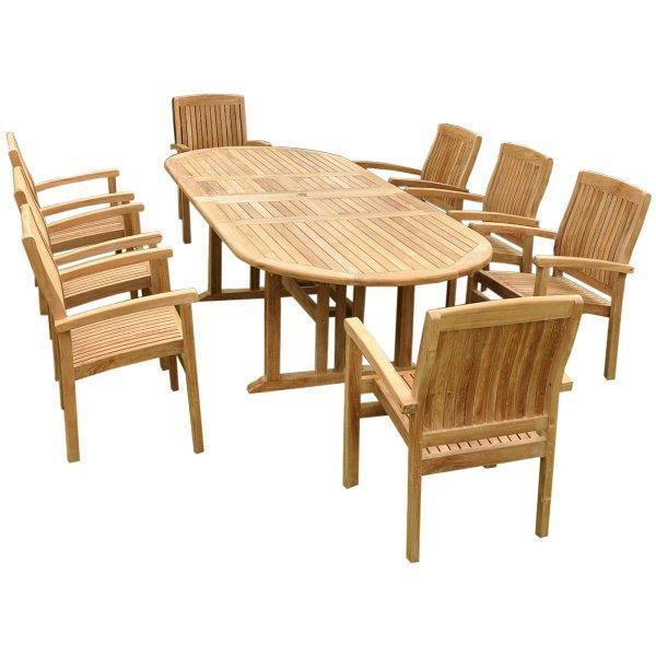 Anderson Teak Sahara Stackable 9-Pieces Oval Dining Set Dining Set