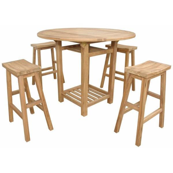 Anderson Teak Seacrest Alpine Rectangular 5-Pieces Counter Table Set Bar Set