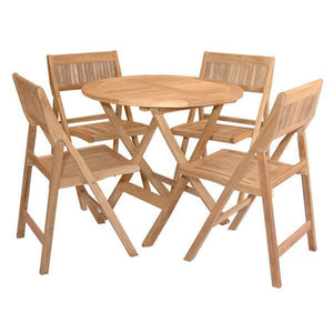 Anderson Teak Windsor 5-Pieces Folding Round Bistro Set Dining Set
