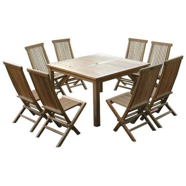 Anderson Teak Windsor Classic Chair 9-Pieces Folding Dining Set Dining Set