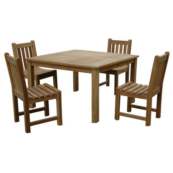 Anderson Teak Windsor Classic Side Chair 5-Pieces Dining Table Set Dining Set