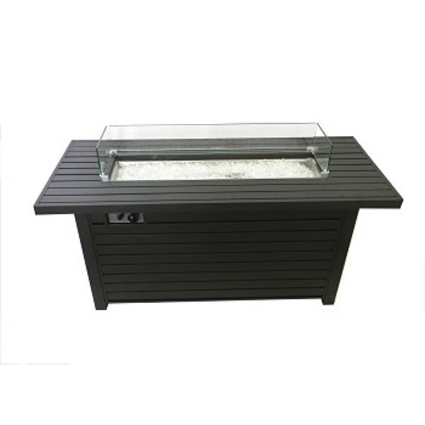 Black Mocha Finish Aluminum Rectangular Fire Pit With Wind Screen Fire Pits