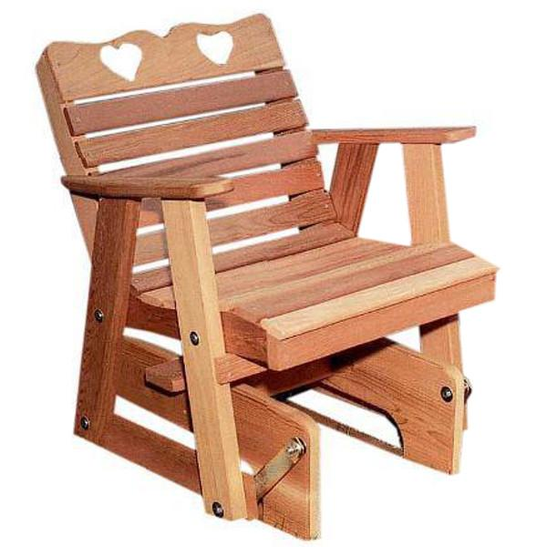 Cedar Country Hearts Rocking Glider Chair Outdoor Glider