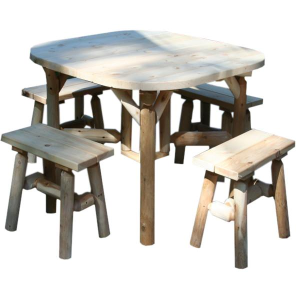 Cedar Log Roundabout Table with 4 Benches