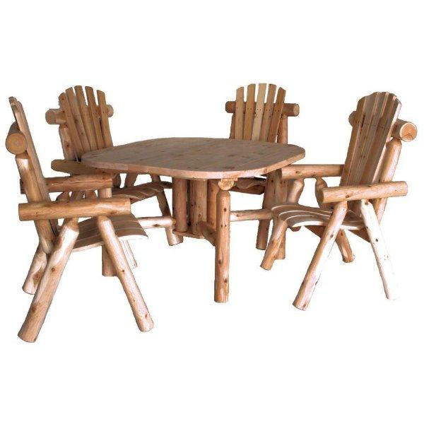 Cedar Log Roundabout Table with 4 Chair Set Outdoor Dining Set