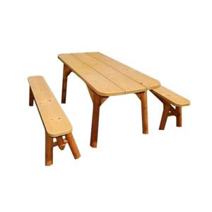 Cedar Oval-Edge Detached Table Set