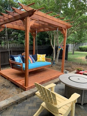 Cedar Pergola Swing Bed Stand By A L Furniture The Charming Bench Company