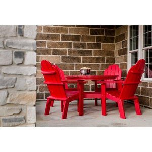 "Little Cottage Co. Classic 46"" Round Table w/4 Dining/Deck Chairs Dining Set Red"