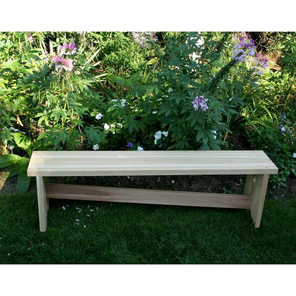 Creekvine Design 5' Cedar 1800 Traditional Bench w/ Slant Brace Garden Benches Unfinished