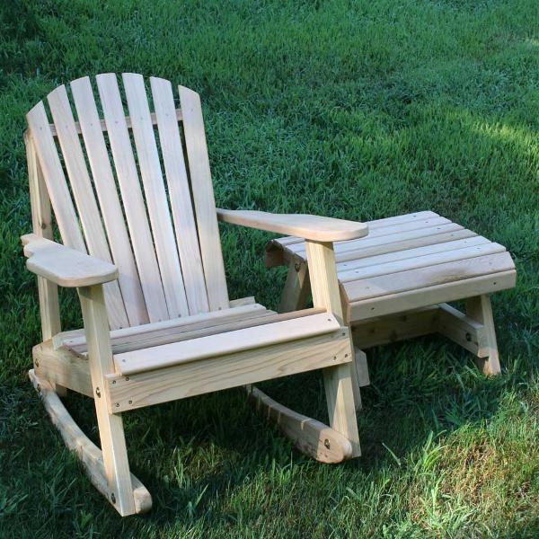Creekvine Design Cedar American Forest Adirondack Rocker & Side Table Set Adirondack Unfinished