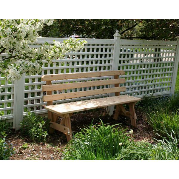 Creekvine Design Cedar Backed Bench Garden Bench 4 ft / Unfinished