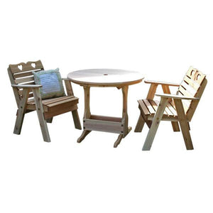 Creekvine Design Cedar Country Hearts Bistro Set Dining Set Unfinished / No