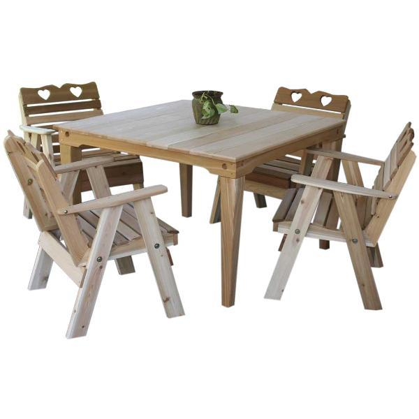 Creekvine Design Cedar Country Hearts Dining Set Dining Set Unfinished / No