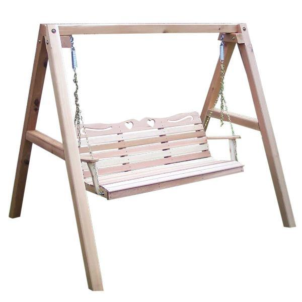Creekvine Design Cedar Country Hearts Porch Swing w/ Stand Porch Swing Stands 4 ft / Unfinished