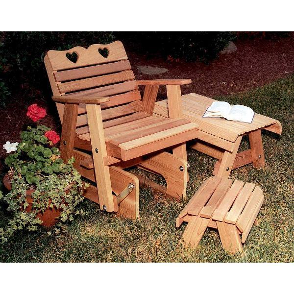 Creekvine Design Cedar Country Hearts Rocking Glider Chair Glider Unfinished