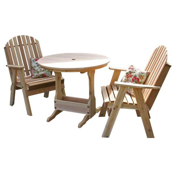 Creekvine Design Cedar Fanback Bistro Set Dining Set Unfinished / No
