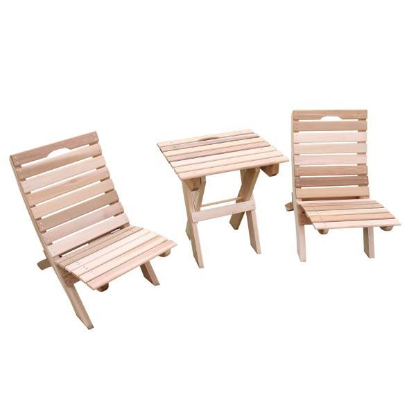 Creekvine Design Cedar Folding Travel Collection Outdoor Chairs Unfinished