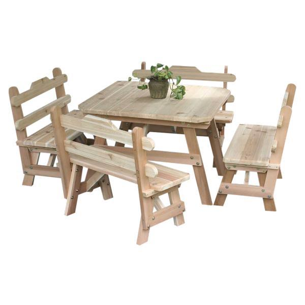 Creekvine Design Cedar Four Square Dining Set Dining Set Unfinished / No