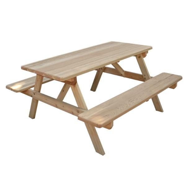 Creekvine Design Cedar Park Style Picnic Table with Attached Benches Picnic Table 4 ft / Unfinished