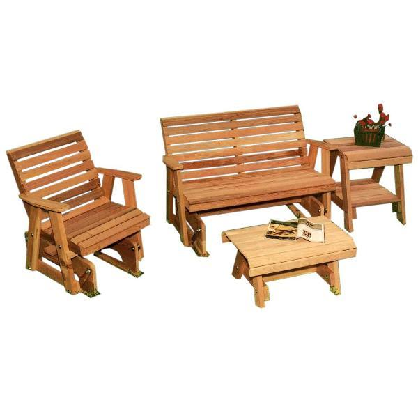 Creekvine Design Cedar Rocking Classic Gliders & Tables Set Glider Unfinished