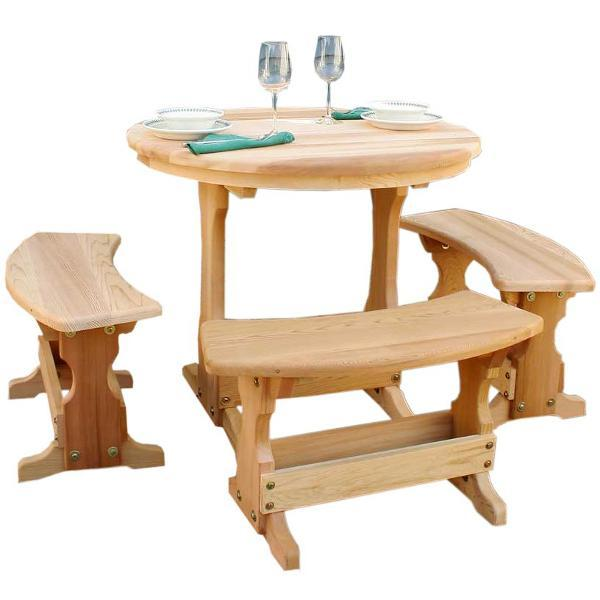 Creekvine Design Cedar Round Trestle Dining Set Picnic Table 35 Inch / Unfinished / No