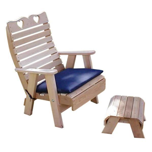 Creekvine Design Cedar Royal Country Hearts Patio Chair & Footrest Set Chair Unfinished