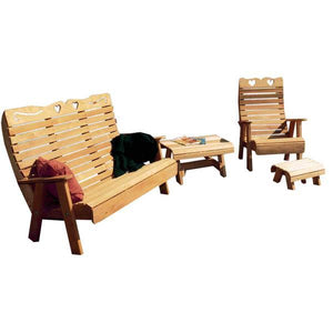 Creekvine Design Cedar Royal Country Hearts Patio Group Garden Benches Unfinished