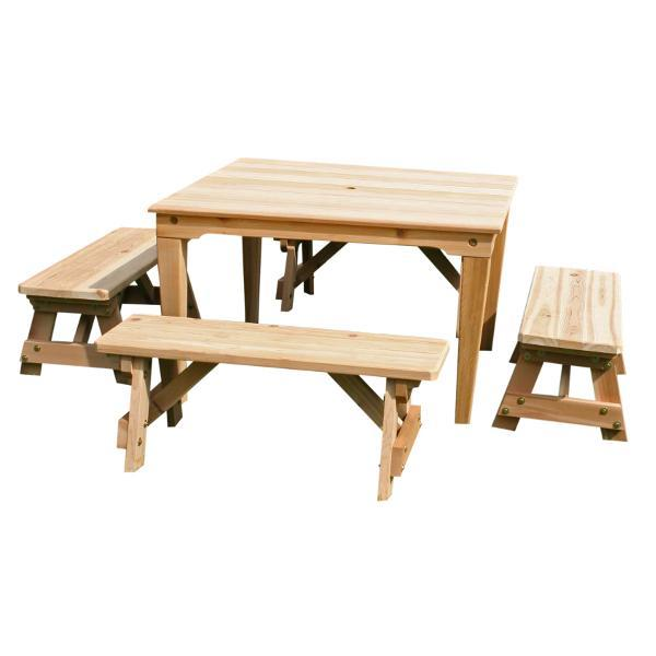 Creekvine Design Cedar Social Dining Set Dining Set Unfinished / No