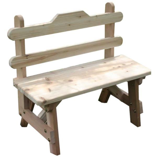 Creekvine Design Cedar Tab Back Bench Garden Bench 3 ft / Unfinished