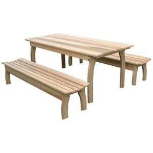 "Creekvine Design Cedar Three Piece Family Dining Set with (2) Benches Dining Set 58"" x 32"" / Unfinished"