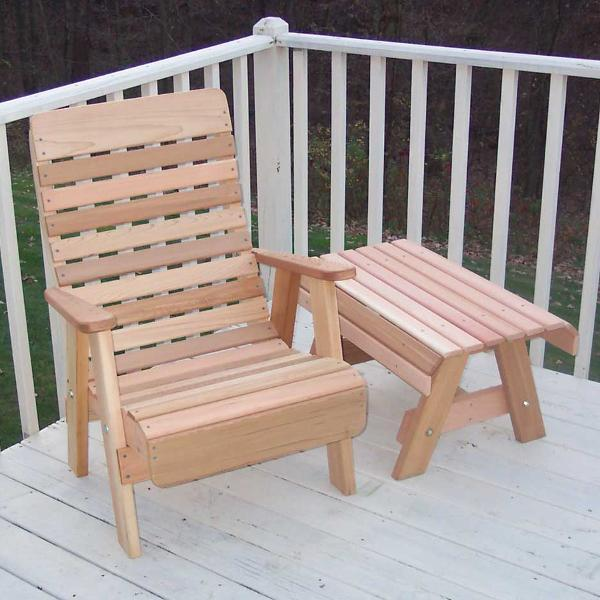 Creekvine Design Cedar Twin Ponds Chair & Table Set Chair Unfinished
